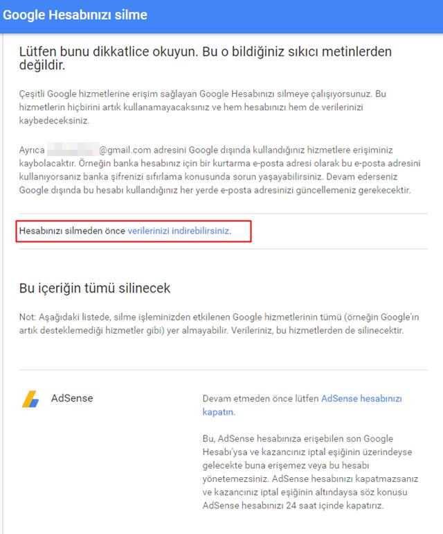 google hesap silme sayfası