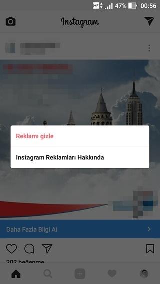 instagram reklamı gizleme