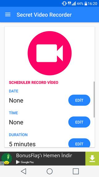 Android için Gizli Video Çekme