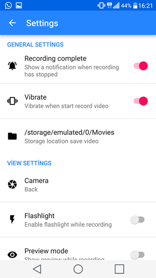 Secret Video Recorder - Ayarlar