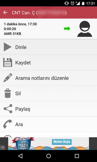 android görüşme kaydı programı