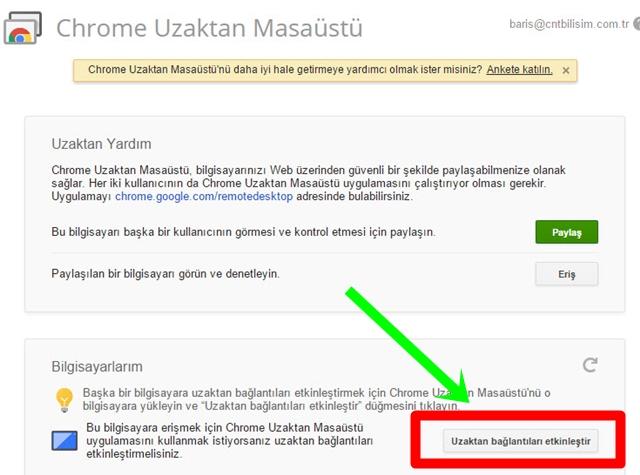 Chrome Uzaktan Masaüstü Etkinleştirme