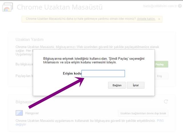 Chrome Uzaktan Masaüstü - Bağlantı Kurma
