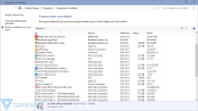 BlueStacks tamamen Windows sistemlerinden nasıl kaldırılır