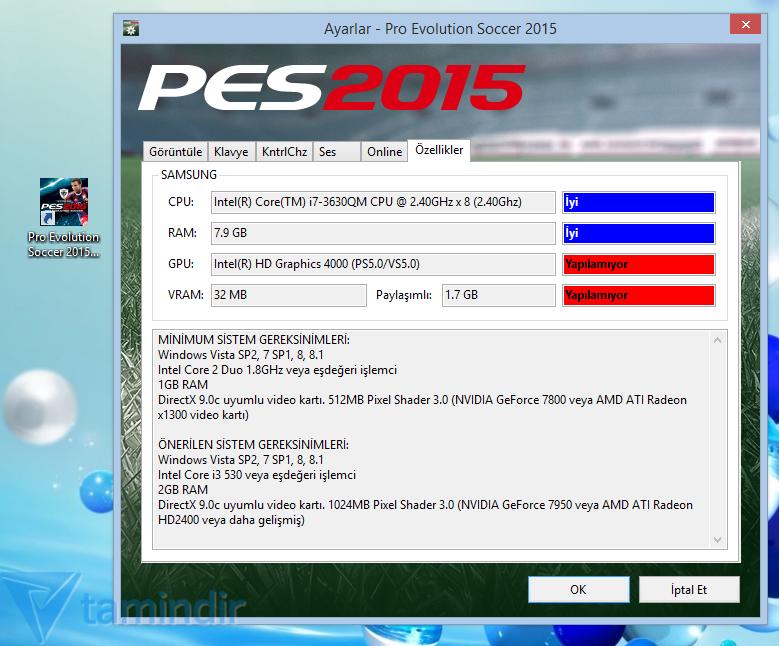 PES 2015 GPU: VRAM 512 MB Hatası ve Çözümü - Tamindir