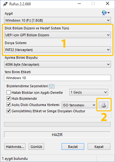 Windows 10 UEFI USB Hazırlama
