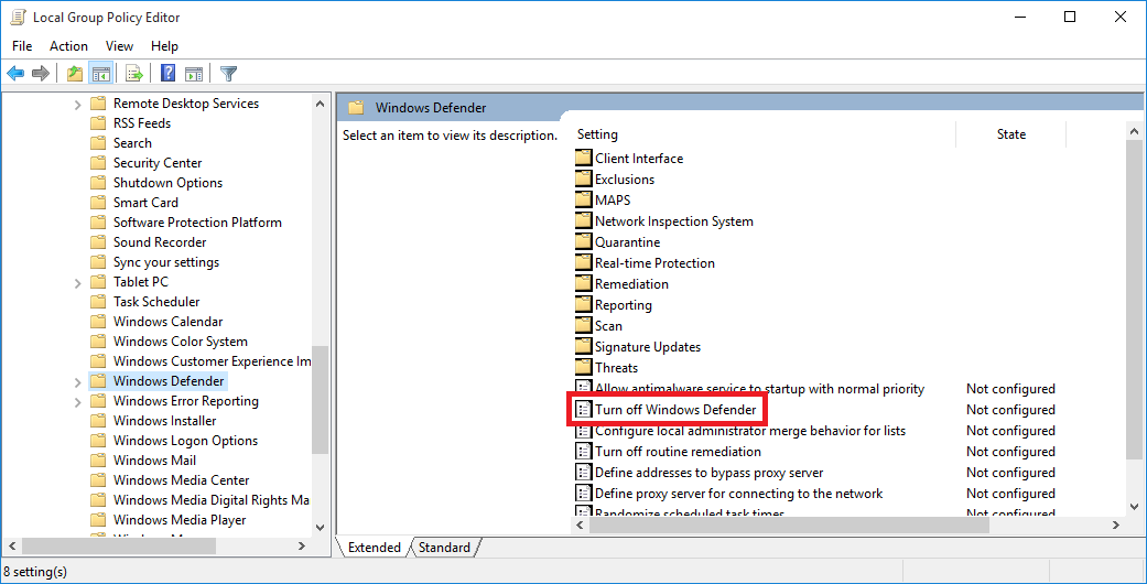 how to permanently turn off windows defender in win 10