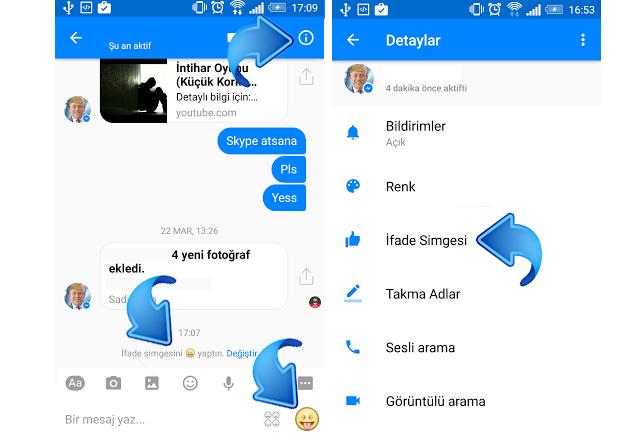Facebook Messenger emoji kısa yolunu değiştirmek
