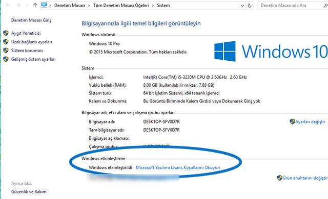 Windows 10 etkinleştirme penceresi