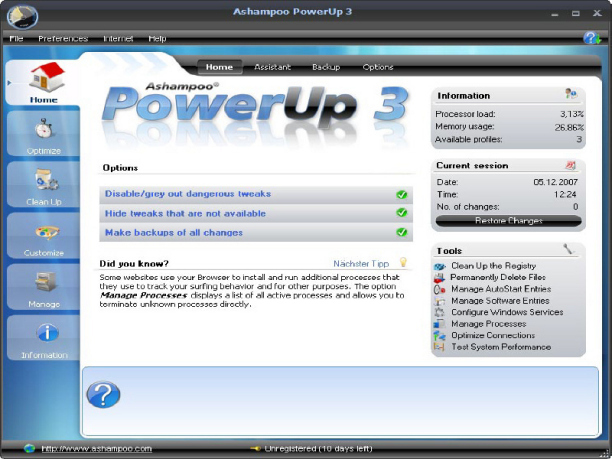 Ashampoo PowerUp Sistem Yöneticisi
