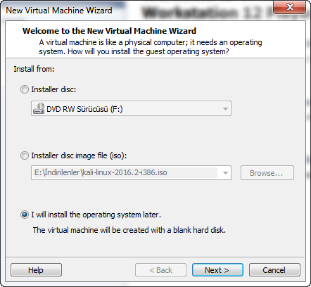 sanal linux çalıştırma