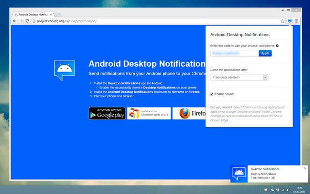 Android Desktop Notifications