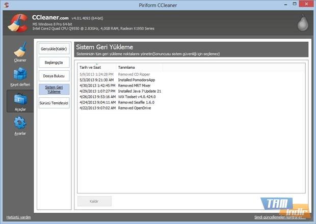 ccleaner sistem geri yükleme