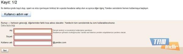 Yandex Mail Alma İlk Adım