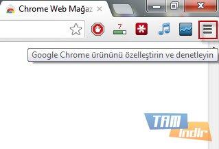 Google Chrome Özelleştir ve Denetle Butonu