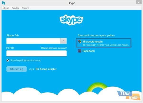 Skype Oturum Açma Ekranı