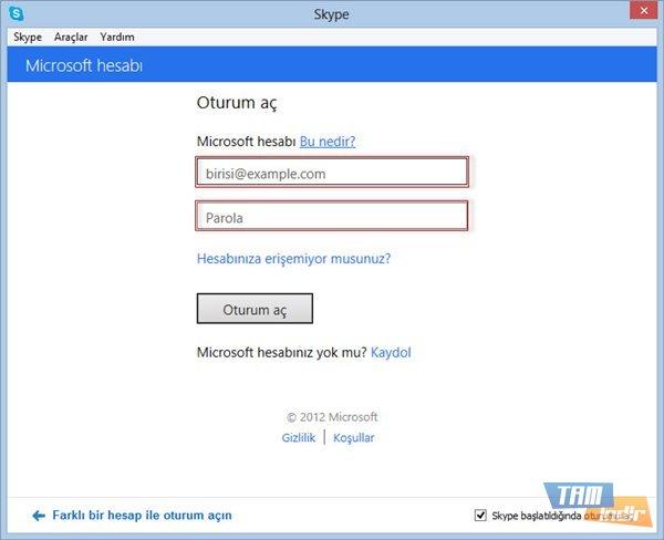 Microsoft Hesabı Oturum Açma