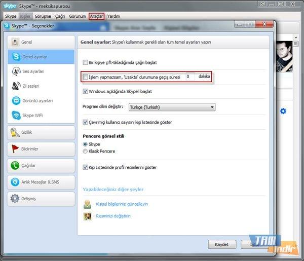 Skype Durum Ayarları