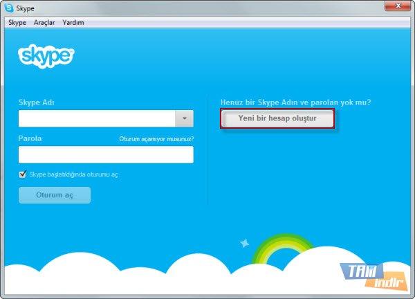 Skype Başlangıç Ekranı