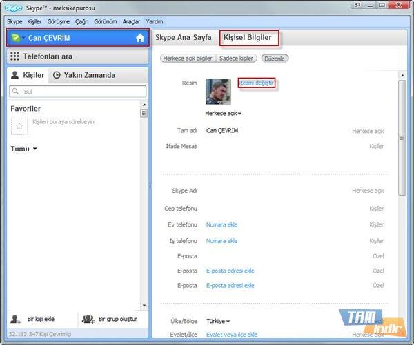 Skype Profil Resmi Ekleme