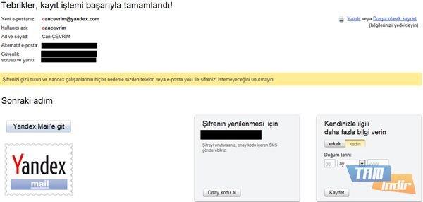Yandex Mail Alma Son Adım