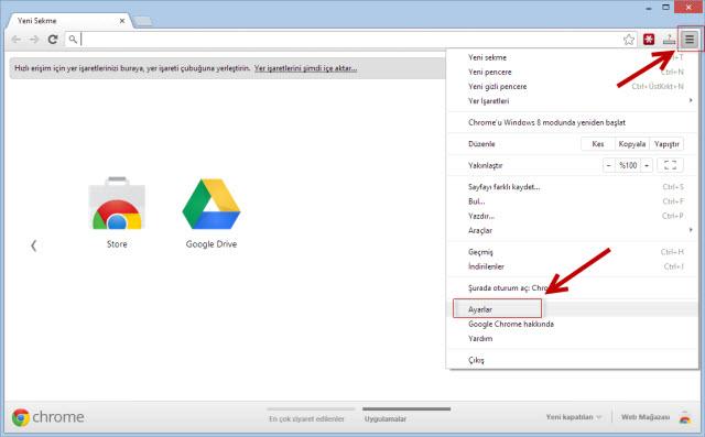 Google Chrome tarayıcı ayarlarını sıfırlama 1