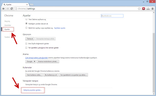 google chrome tarayıcı ayarlarını sıfırlama 2