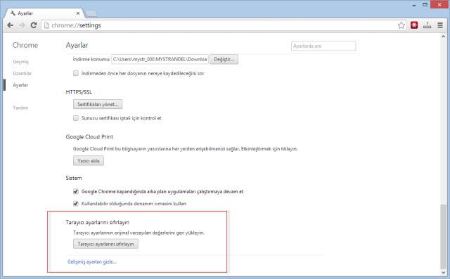 google chrome tarayıcı ayarlarını sıfırlama 3