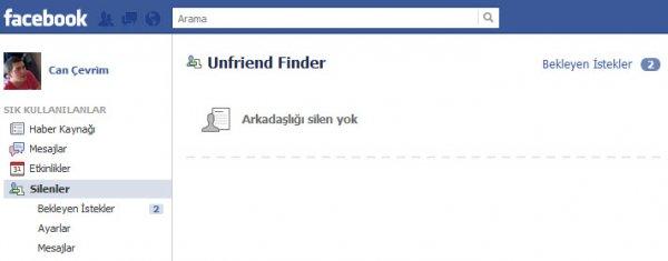 Unfriend Finder Facebook Sayfa Görünümü
