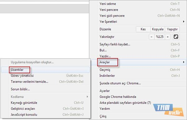 Google Chrome Uzantılar