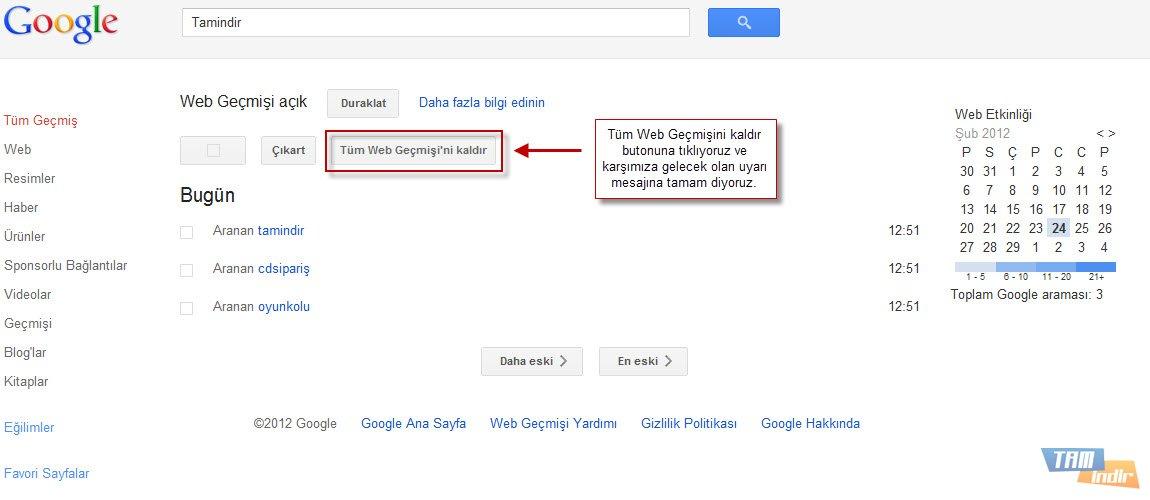 Google Web Geçmişi