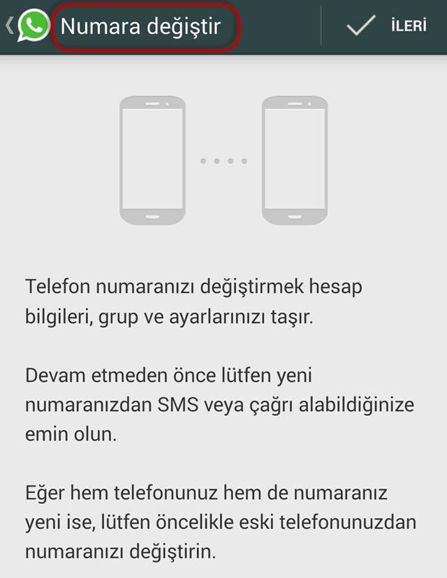 WhatsApp Numara Değiştirme