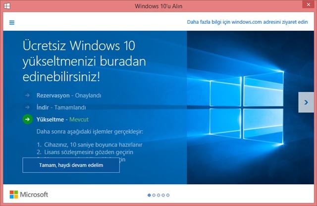 windows 10 rezervasyon ekranı