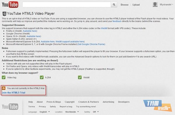 Youtube HTML5 Desteği