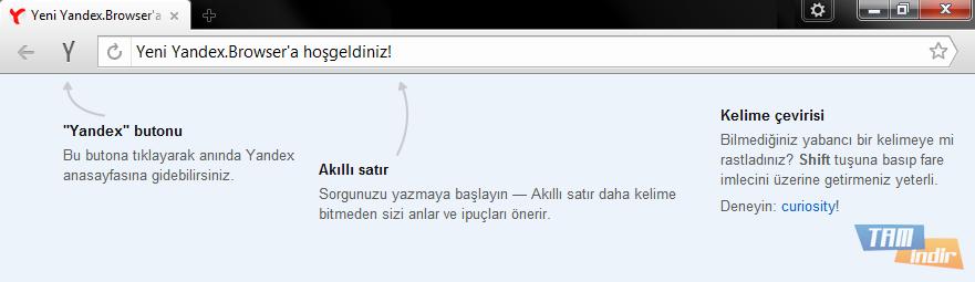 Yandex Browser Hoşgeldiniz Sayfası