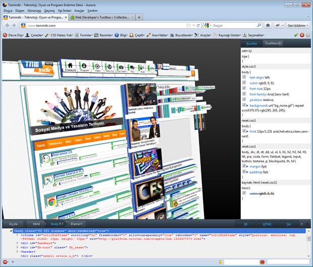 Mozilla Aurora Öğeyi Denetle