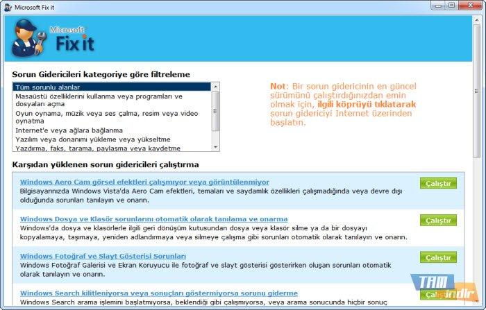 Microsoft Fix it Center İndir - Microsoft Sorun Giderme Aracı - Tamindir