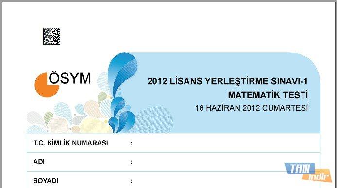 2012 lys 1 matematik testi soruları ve cevapları