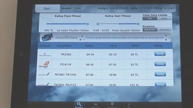 iPad Uçak Bileti Uygulaması İncelemesi